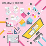 Top view of creative process in flat design Royalty Free Stock Image