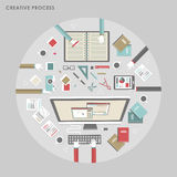 Top view of creative process in flat design Stock Photo