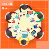 Top view of creative team work in flat design Royalty Free Stock Photo