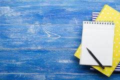 Top View of Creative Writing Concept With Pencils, Book, Notepad on Wooden Table. Copy space for text Stock Image