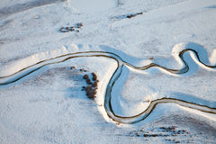 Top view of the creek on the lowland in winter Stock Photo