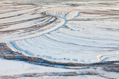 Top view of the creek on the lowland in winter Royalty Free Stock Photo