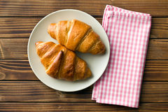 Top view of croissants on plate Royalty Free Stock Image