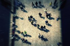 Top view crowd on bridge with unrecognizable faces. City commuters Stock Image