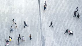 Top view crowd of people walk on business street pedestrian in c royalty free stock photography