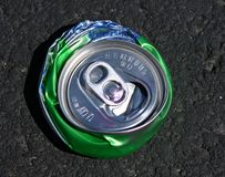 Top view of crushed aluminum soda can Royalty Free Stock Image