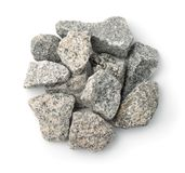 Top view of crushed granite stones stock photos