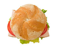 Top view of a crusty turkey kaiser sandwich stock photo