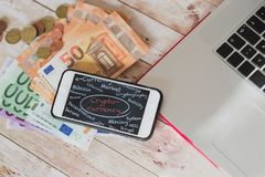 Top view of crypticurrency iconography on smart phone screen, eu Stock Photo
