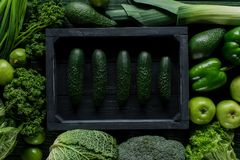 Top view of cucumbers in wooden box between green vegetables, healthy. Eating concept stock images