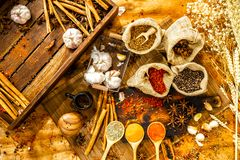 Top view of culinary seasonings & herbs, hot red chilli, white pepper, dried chilli powder in spoons, garlic, spices in sacks, ci. Nnamon, wheat on wooden board royalty free stock photos