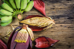 Top view Cultivated banana and banana blossom on the table. Stock Images