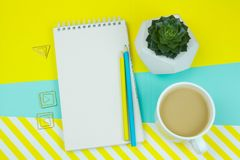 Cup of coffe, notebook with blank paper sheet, pen, ppaer clips and sucuulent on a blue and stripped yellow background . Top view cup of coffe, notebook with stock photo