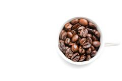 Top view of a cup of coffee beans with space for text Stock Image