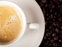 Top view of a cup of coffee Royalty Free Stock Image