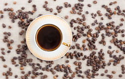 Top view of the cup with coffee. Stock Photography
