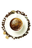 Top view of a cup of coffee Royalty Free Stock Photo
