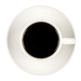 Top view of a cup of coffee, isolate on white Royalty Free Stock Photography