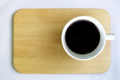 Top view of a cup of coffee, isolate on white stock images