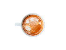 Top view cup of coffee on isolated white with clipping path Stock Photography