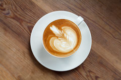 Top view cup of coffee latte Royalty Free Stock Photography