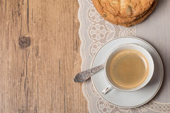 Top view on cup of coffee and plate with cookies Stock Image