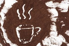 Cup of coffee sign drawn in coffee on white. Top view of cup of coffee sign drawn in coffee on white Stock Photography