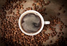 Top view on cup of coffee royalty free stock photo