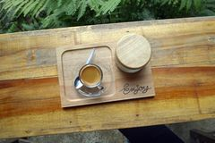 Top view of a cup of coffee on wooden table. Coffe cup on wooden table Stock Photo