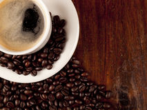 Top view of a cup of dark roasted coffee Stock Photos