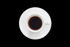 Top view of cup of fresh espresso on black background Stock Images