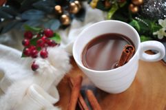 Top view a Cup of Hot Chocolate. With cinnamon stick royalty free stock images