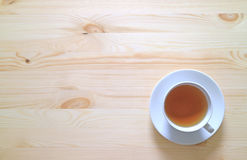 Top View of a Cup of Hot tea on the Wooden Table Stock Image