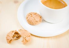 Top of view of cup of italian espresso coffee near biscuit Stock Photo