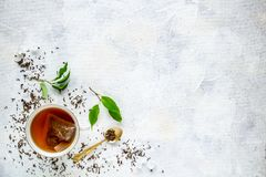 Top view of a cup of tea. With tea bag, space for your text royalty free stock photography