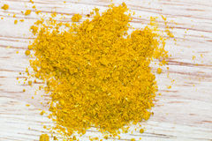 Top view of curry powder pinch Royalty Free Stock Images