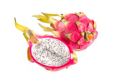 Top view of cut section of dragon fruit and a whole one Stock Photo