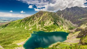Top view of Czarny Staw Gasienicowy in summer, Tatra Mountains stock footage