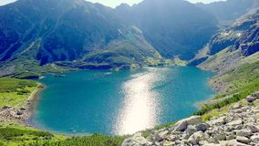 Top view of Czarny Staw Gasienicowy in Tatra Mountains in summer, Poland stock video footage