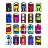 Top view 2D Game asset. Set of race street car, for game design Royalty Free Stock Images