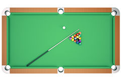 Top view 3D illustration pool billiard game. American pool billiard. Pool billiard game. Billiard sport concept. 3D illustration pool billiard game. American Royalty Free Stock Photo