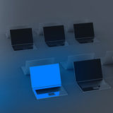 Top view of 3d network computer Stock Photo