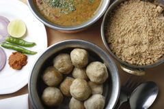 Top view of Dal Bati is a lentil based dish Stock Image