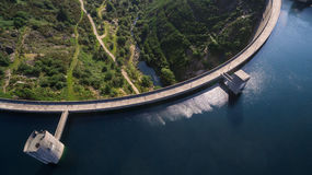 Top view of the dam of Vilarinho da Furna on Rio Homem, Portugal. Aerial view of Dam of Vilarinho da Furna Royalty Free Stock Images