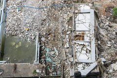 Top view of damage area, crash and collapse building Stock Photo