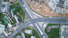 Top view Darasamuth intersection in Phuket town. PHUKET, THAILAND - APRIL 26 : Top view Darasamuth intersection in Phuket town and car stop in traffic light in Stock Image