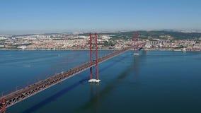 Top View on the 25 de Abril Bridge in Lisbon Stock Image