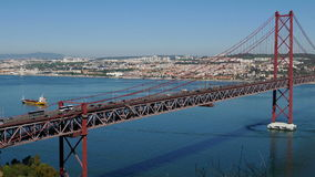 Top View on the 25 de Abril Bridge in Lisbon. Portugal stock video