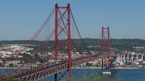 Top View on the 25 de Abril Bridge in Lisbon. Portugal stock video footage
