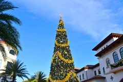 Top view of decorated Christmas Tree on open mall background in Lake Buena Vista area. Orlando, Florida. November 18, 2018 Top view of decorated Christmas Tree stock photography